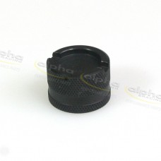 Racing cap for oil drain valve, aluminum, black